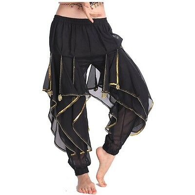 AU Belly Dance Bloomers Trousers Polyester Costume Canival Wavy Pants 8 Colors