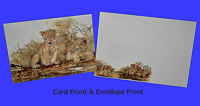 Vintage African Baby Lion Cub Art Greeting Cards Holiday Christmas Birthday 1992