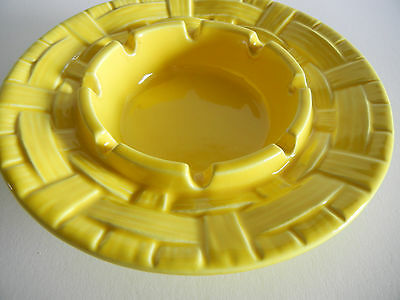 Vintage Classic Royal Haeger Pottery Ashtray Basket Pattern #2103 Yellow Glazed
