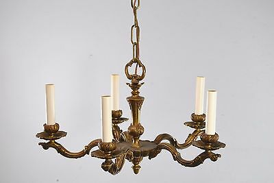 Antique Five Arm Bronze French Style Chandelier