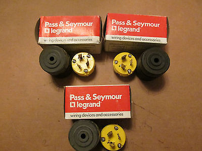 NEW NOS LOT OF 3 Pass Seymour L520-P Turnlok Plug 20 Amp 125V Black & Yellow