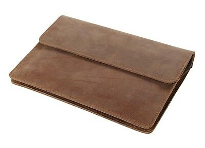 Classic Brown Crazy Horse Leather Big Capacity Wallet Men's Purse Key Case