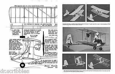 MODEL AIRPLANE PLANS FULL SIZE PRINTED PLAN PEANUT SCALE Co2 POWER WING DING