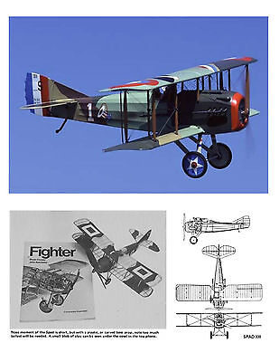 MODEL AIRPLANE PLANS FULL SIZE PRINTED PLAN PEANUT SCALE SPAD XIII & BUILD NOTES