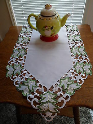 """TANNENBAUM CHRISTMAS TREES Embroidered 15"""" x 54"""" Table Runner"""