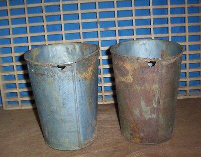 2 OLD TIN SAP BUCKETS ANTIQUE Maple Syrup Bucket GREAT DECOR