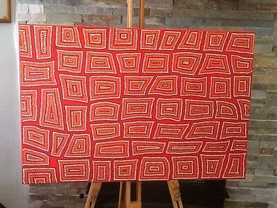 Dot Painting Red, Gold, Copper, Umber. 75x50cm