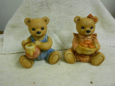 """HOMCO bears boy/girl #1425 w/labels 4"""" high great condition   (10/16)"""
