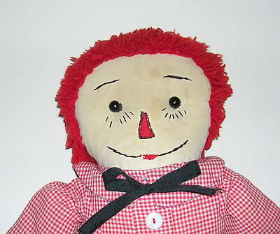 """Vintage Primitive 1940's-50's Hand Made 19"""" Raggedy Andy Doll Black Outline Nose"""
