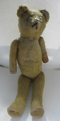 Vintage Antique Mohair Jointed Stuffed Bear Button Steel Eyes Stitched Mouth