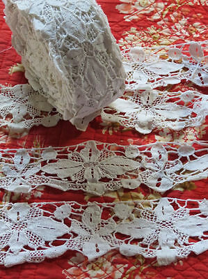 Vintage Hand done POINT DE VENISE Lace Trim 14.5 yards ITALIAN NEEDLELACE floral
