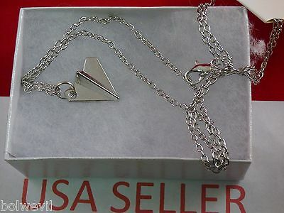 US SELLER - One Direction 1D Harry styles SILVER Paper Airplane pendant Necklace