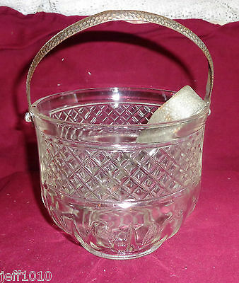 Vintage Glass Ice Bucket Metal Handle  and Matching Talon Claw Tongs