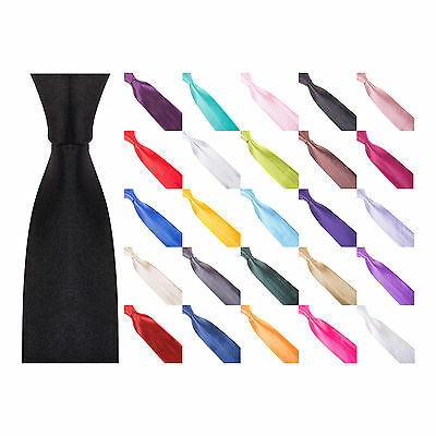 "Mens 3"" Chunky Thick Wide Satin Tie - Black, White, Blue, Red, Grey, Pink, Green"