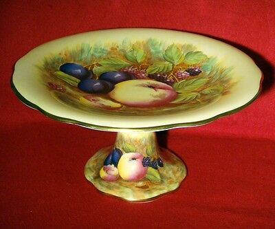 AYNSLEY *ORCHArD GOLD* FOOTED CAKE PLATE SIGNED D.JONES PEDESTAL