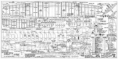 """1/24 Scale 51"""" Rubber Power Avro Lancaster Mk.1 Model Airplane Plans & Notes"""