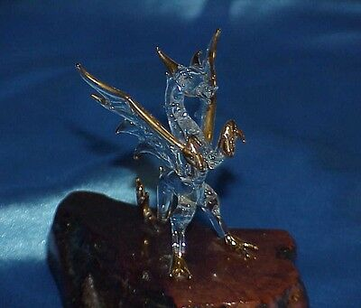 Mythical Handblown Glass Gold Trimmed Good Dragon Statue on Shiny Wood Base