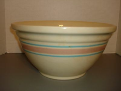 "LARGE VINTAGE 14"" YELLOW WARE MIXING BOWL THREE BANDS"