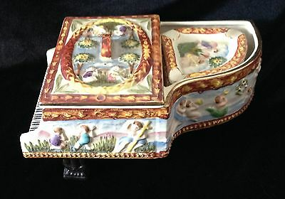 Vintage Occupied Japan Hand Painted MS Piano Shape Cigarette Box with 4ashtrays
