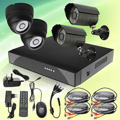 4CH DVR H.264 Color Indoor Outdoor CCTV Home Surveillance Security Color Camera
