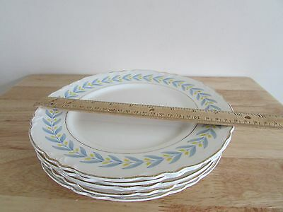"""W S George China Radisson 9-3/4"""" Dinner Plate White Yellow Tulips Blue Leaves"""