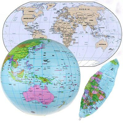 Inflate Inflatable Earth Tellurion World Globe Map Pool Beach Ball Geography New