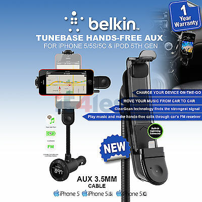 Belkin TuneBase Hands Free FM Transmitter with Lightning for iPhone 5 5s 5c SE