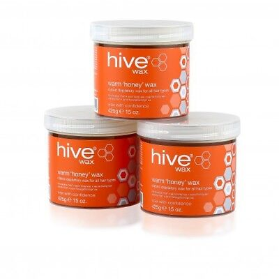3 x THE HIVE OF BEAUTY WARM HONEY DEPILATORY WAX 425g  leg bikini hair removal