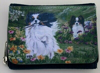 Papillon Toy Dog Blue Denim Purse Oil Painting Print Sandra Coen Artist