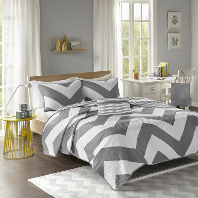 Sporty Reversible Black White Grey Stripe Chevron Modern Soft Quilt Set & Pillow