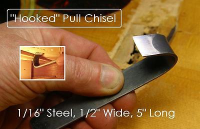 GuitarTechs HOOKED PULL CHISEL for Guitar Brace Removal Luthier Hook Tool