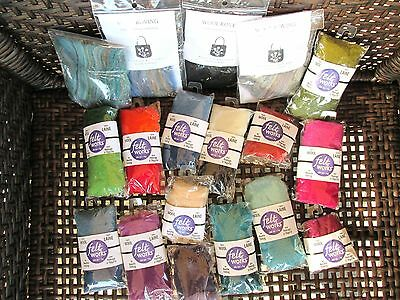 Needle Felting Lot Craft Supply Lot of 18 Pieces Wool Roving Spinning Felt Works