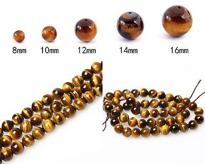 "Natural Tiger's Eye Gemstone Round Spacer Beads 15.5"" 3MM 4MM 6MM 8MM 10MM 12MM"