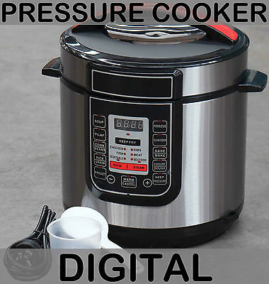 6 Litre Fast Digital Pressure Cooker Deep Fryer Rice Steamer Yogurt Maker Slow