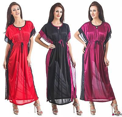 New Womens Satin Nightwear Ladies Dress Sleepwear Night Gown Kaftan
