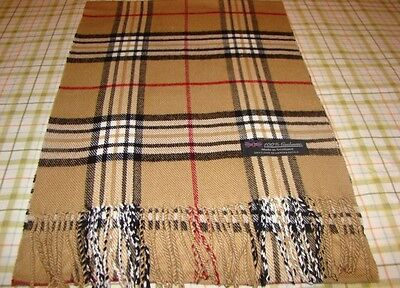 100% Cashmere Scarf Camel Beige Wool Check Plaid Made in Scotland Wool Graham