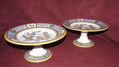 Pair Antique English Oriental Ceramic Footed Dishes By Minton