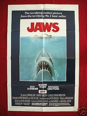 Jaws * 1975 Original Movie Poster One Sheet Vintage Steven Spielberg Halloween