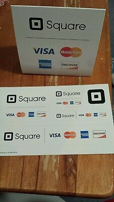 SQUARE CREDIT CARD READER STICKERS, DOUBLE SIDED AUTHENTIC WINDOW DECALS & SIGN