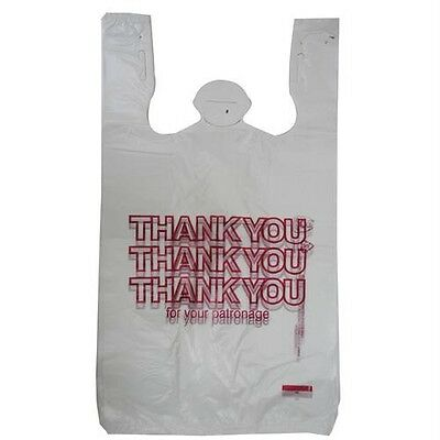 """50 T-Shirt Thank You Plastic Shopping Grocery Bags 11.5"""" X 21"""" X 6.5"""" T Handle"""