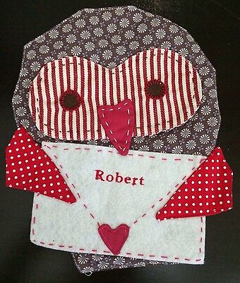 POTTERY BARN KIDS VALENTINE'S DAY OWL CHAIR BACKER *ROBERT* NEW HEART MAIL GIFT
