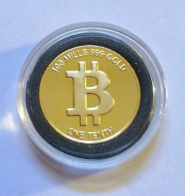 One Tenth Bitcoin Finished in 999 Fine 24 Karat Gold  in Capsule (b)