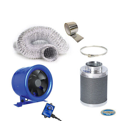 "Hyper Fan 150MM (6"" Inch) + Phresh Carbon Filter 150 x 300MM 318CFM + 6M Duct"