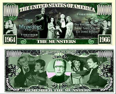 LES MONSTRES Billet MILLION DOLLAR US! The MUNSTERS Série Horreur humour classic