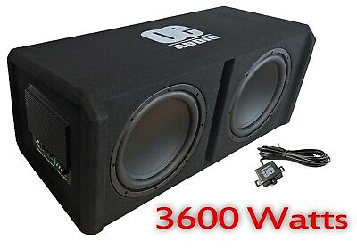 """12 """" Twin Active Amplified Double Bass Box Sub Car Subwoofer Amp Amplifier 3600W"""
