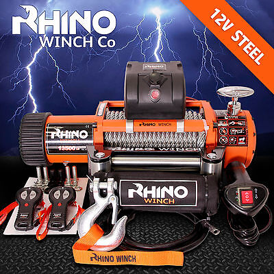 12v 4 x 4 Recovery Winch  13500lb (Not 13000lb) - Heavy Duty - Two Remotes + + +