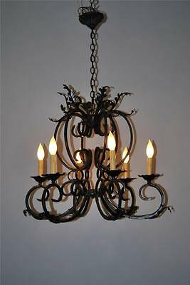 Wrought Iron Six Arm Chandelier with Feather Details