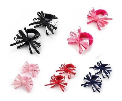 2 Pack Hair Bows Bow Polka Dot Hair Bows Bobbles Ponios Baby Little Girls