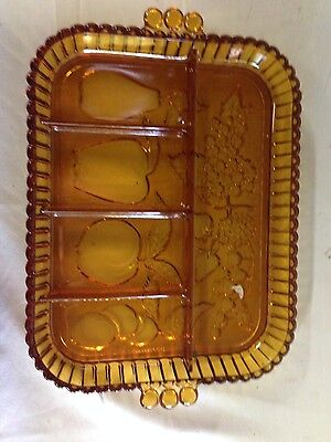 Vintage Indiana Amber Heavy Glass Divided Oblong Relish Dish - Fruit Motiff -VGC