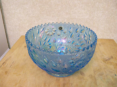 "Westmoreland Wildflower & Lace - Large Blue Iridescent Bowl - 8 1/4"" Wide"